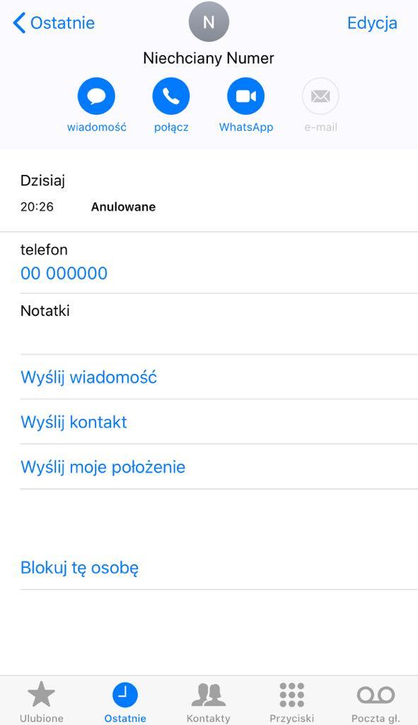 Blokada numeru iOS